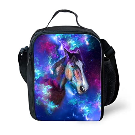 8a4cd9caa303 HUGSIDEA Galaxy Horse Pattern Insulated Lunch Bag Cool Picnic School  Lunchbox Food Containers Cooler Bags with Adujustable Shoulder Strap