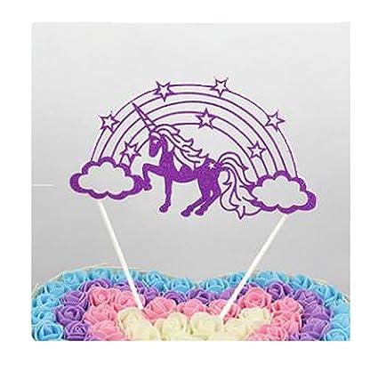 Edtoy Purple Unicorn Birthday Cake Topper DIY Decoration For Childrens Party