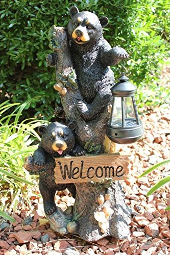 Ebros Climbing Black Bear Cubs Garden Light Statue Figurine Solar LED Lantern Light Welcome Sign Guest Greeter Decor for Patio Poolside Garden Home (Statue Welcome Bear)