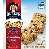 Quaker Chewy Granola Bars, 25% Less Sugar, Chocolate Chip, 8 Bars Per Box (Pack of 6)