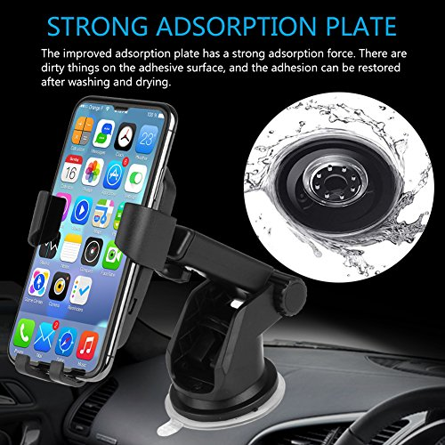 Wireless Car Charger, TUREAL Windshield Car Phone Mount Holder, Qi 10W Wireless Charging Strong Sticky Gel Pad Compatible iPhone X, 8/8 Plus, Samsung Galaxy S8/S8 Plus/S7/S7 edge/S6 edge Plus/Note 8/5 by TUREAL (Image #3)