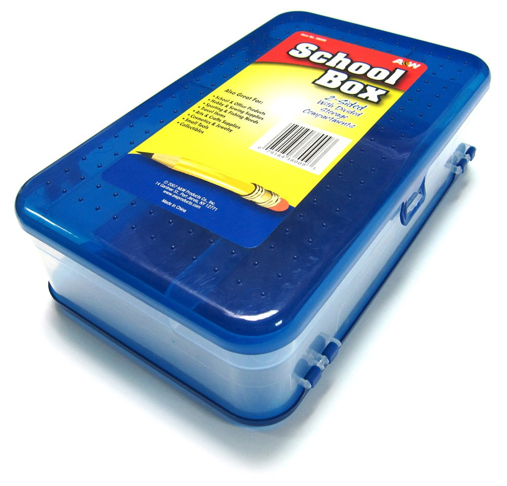 HQ Advance Products Plastic School Box, 2-Sided with Divided Storage Compartments, Assorted Colors (38009)