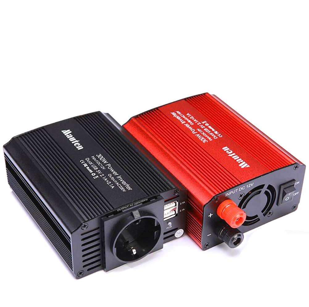 Comprajunta 300 Watt Car Inverter, 12DC/220AC Outlets, 2.1 A Dual USB, Modified Sinusoidale, Adattatore con Presa Accendisigari Auto,Red