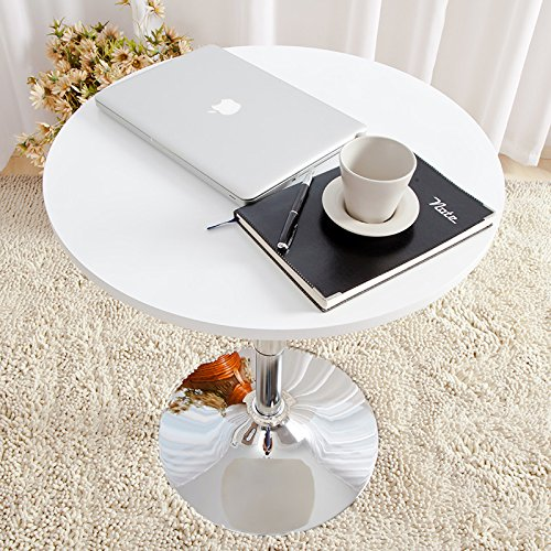 35 Inches Round Bar Table Adjustable Height Chrome Metal and Wood Cocktail Pub Table MDF Top 360°Swivel Furniture (White 1) by PULUOMIS (Image #6)