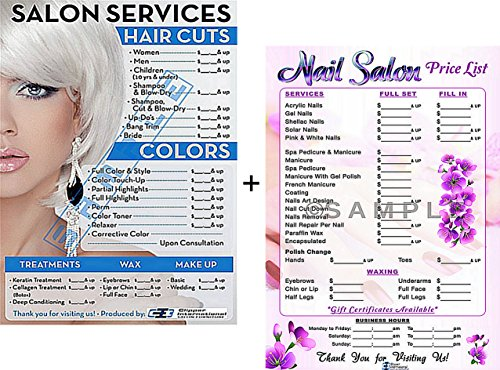 Salon Poster Price List for Beauty Salon and Nail Salon In A Combo Already