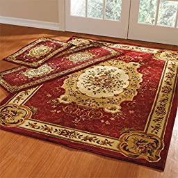 Brylanehome Royalty Rug Set (Red)