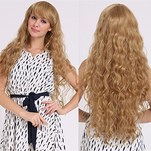 2017 Trendy New Blonde Wigs For Women/Girls Long Wavy Curly Side Bangs Wigs , picture color