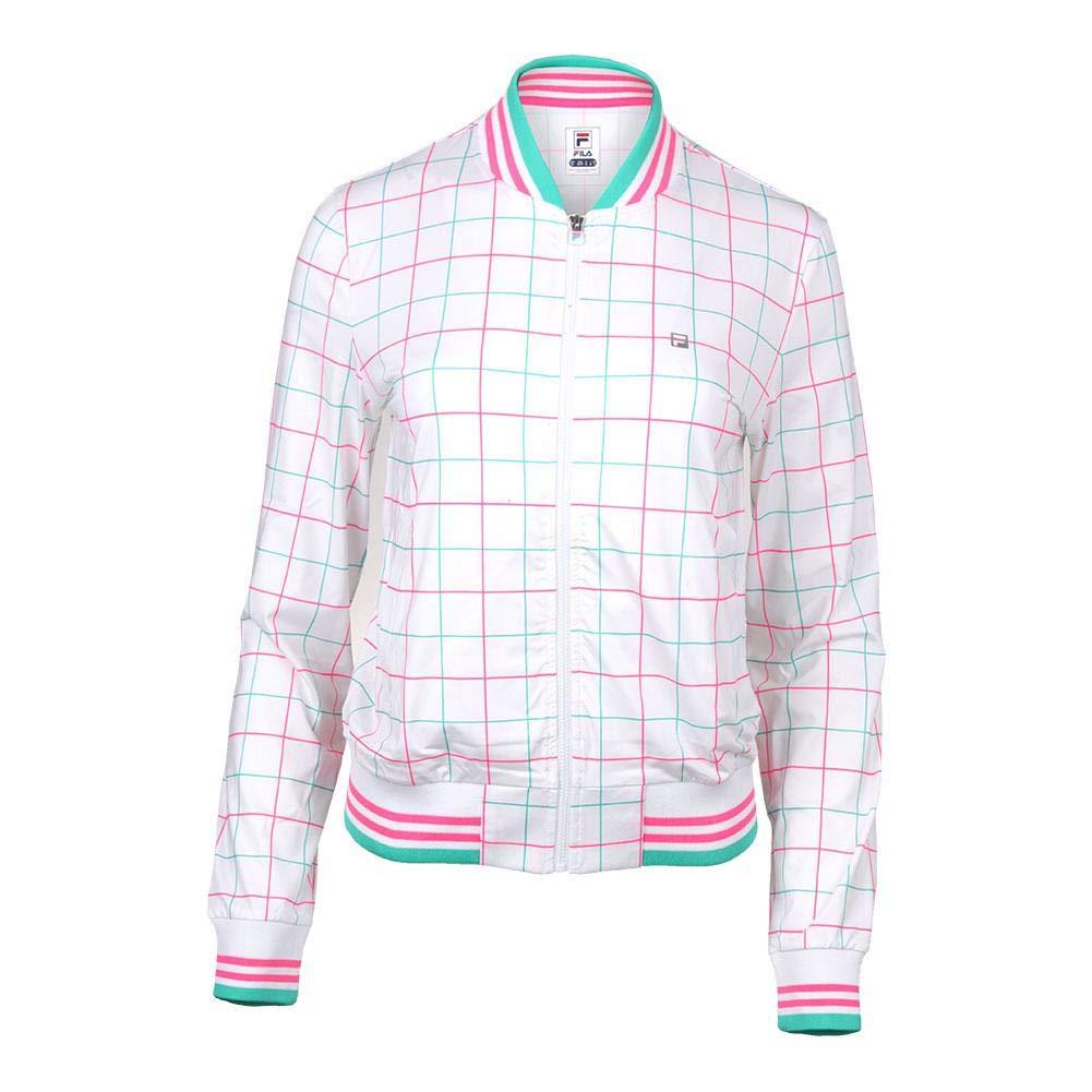 Fila-Women`s Windowpane Tennis Jacket White Print-(789482560072)