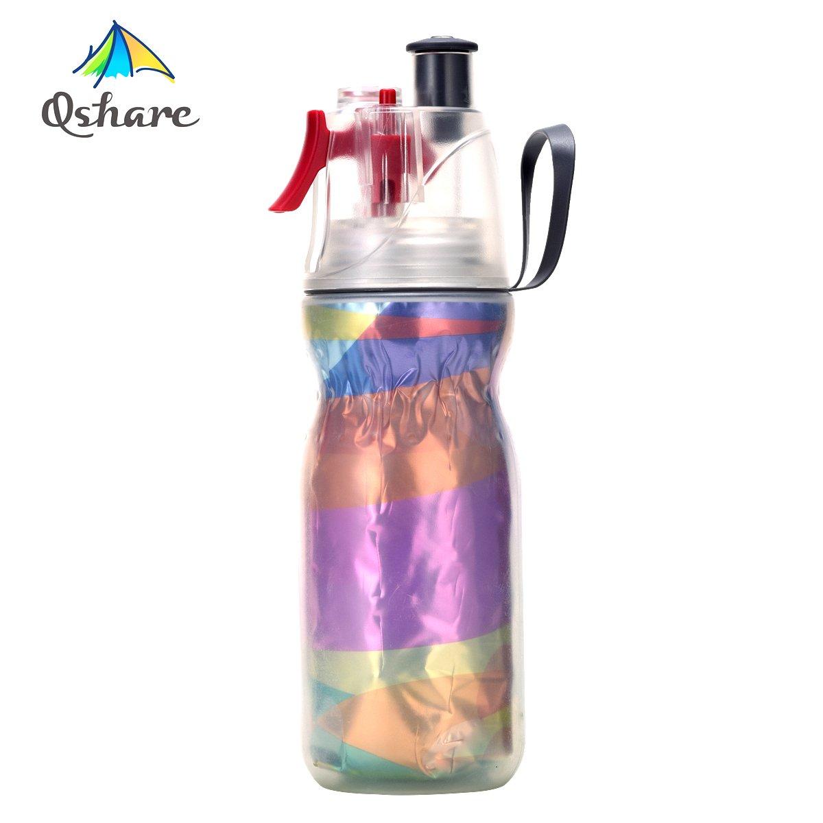 Qshare - Botella de escurrimiento de neblina de aerosol, Botella de agua deportiva con rociador de neblina, hidratación del deporte al aire libre, BPA libremente