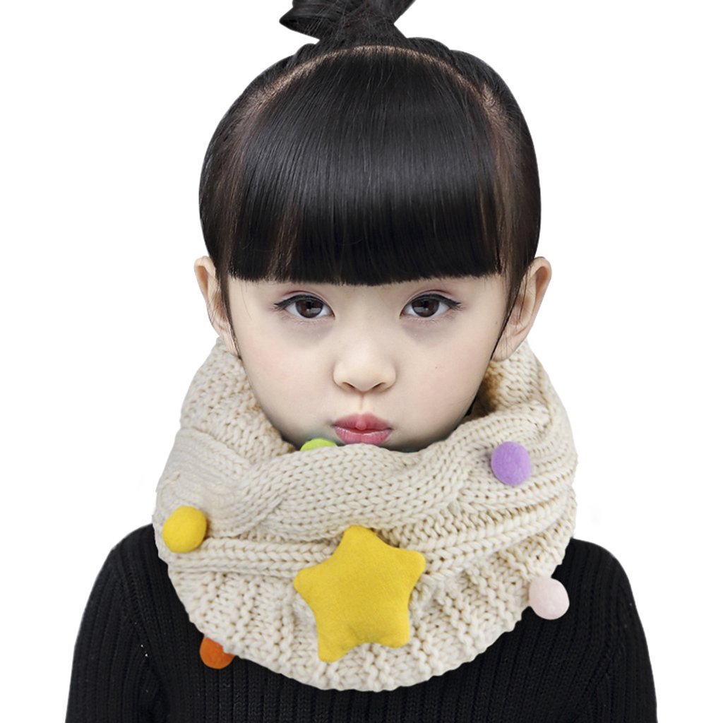 Kids Toddler Winter Thicken Warm Scarf Wraps Boys Girls Wool Knitted lovely Star Neck Warmer Scarves Neckerchiefs Baby Children Thermal O Ring Neck Scarves Shawl with Pompom Ball,Xmas New Year Gift