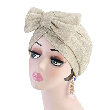 Amazon.com: New Fashion Luxury Women Metallic Bow Turban Hat ...