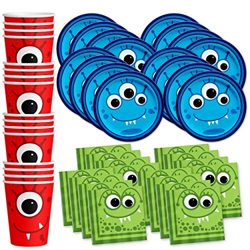 Mighty Monster Birthday Party Supplies Set Plates Napkins Cups Tableware Kit for 16 by Birthday Galore for $<!--$17.99-->