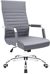 KaiMeng Ribbed Office Chair Mid Back Desk Chair Adjustable Swivel Task Chair Conference Executive Chair (Grey)