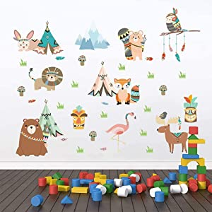 Cartoon Animals Wall Stickers Mural Decals Grass Owls Lions Fox Wallpaper for Children Kids Rooms Baby Bedroom Wardrobe Door Decoration (Cartoon Animals Group)