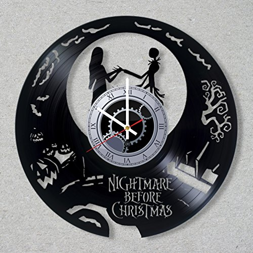 Vinyl Record Wall Clock The Nightmare Before Christmas Simply Skellington Jack Love Sali decor unique gift living room ideas for friends him her boys girls Space World Art Design
