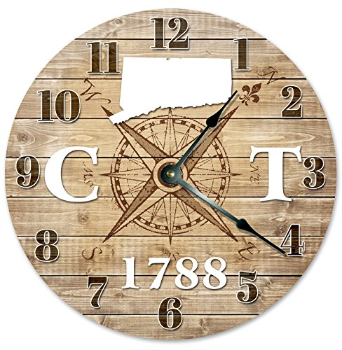 """CONNECTICUT CLOCK Established in 1788 Huge 15.5"""" to 16"""" COMPASS MAP RUSTIC STATE CLOCK Printed Wood Image"""
