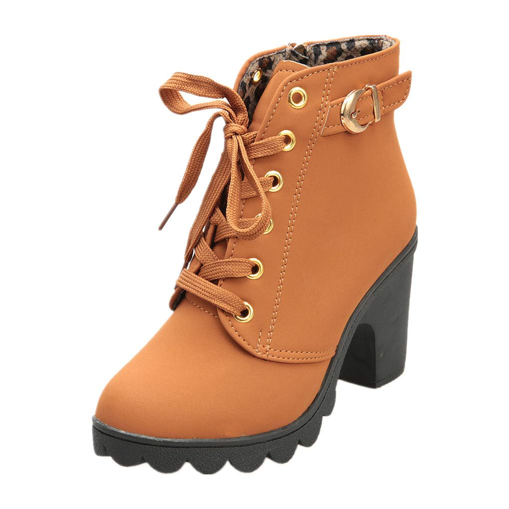 dfbf20327e77e Haoricu_ High Heel Shoes Women, Lace Up Ankle Boots Thick Ladies Zipper  Buckle Platform Shoe