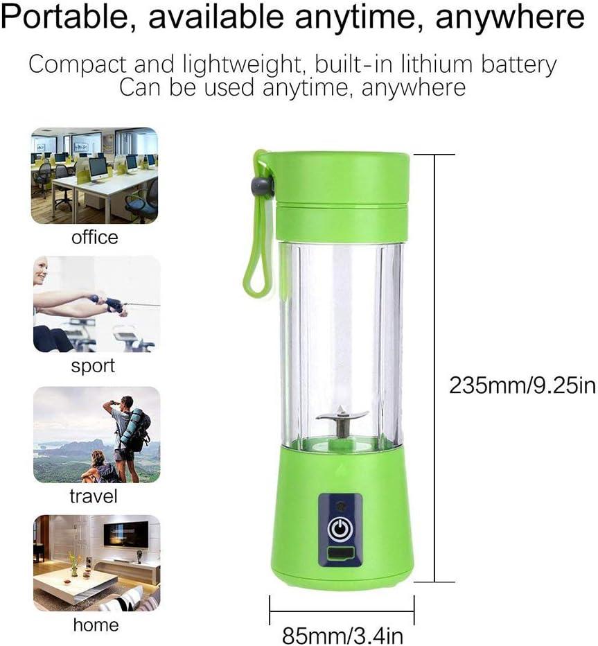 Dreamsdox Mini exprimidor eléctrico Batidor de Batidos portátil Licuadora de Frutas Cuchillo de Acero Inoxidable 4 Cuchillas con Cable de Carga USB para Oficina en casa Viajes y Aire Libre (Verde): Amazon.es