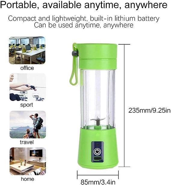 Dreamsdox Mini exprimidor eléctrico Batidor de Batidos portátil Licuadora de Frutas Cuchillo de Acero Inoxidable 4 Cuchillas con Cable de Carga USB para Oficina en ...