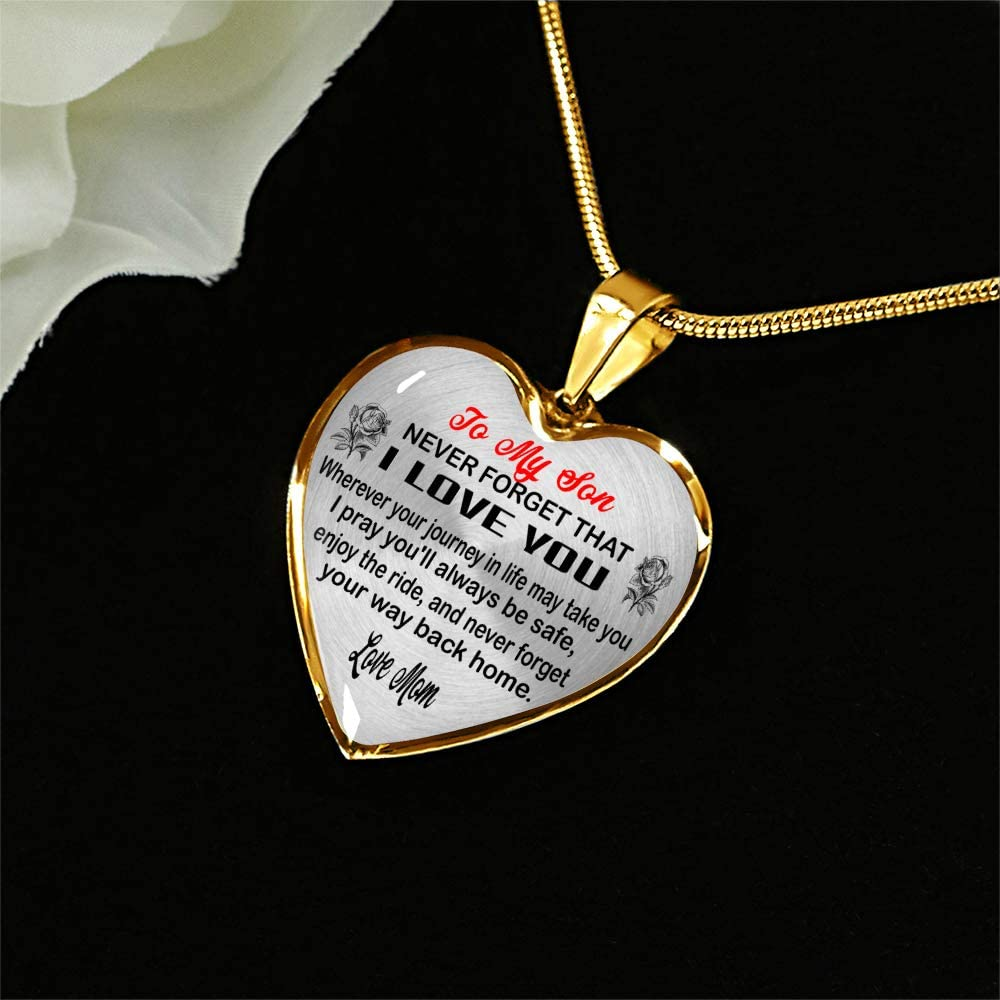 Gifts for Birthday Gifts for Son from Mom ZEN DEAL to My Son Necklace Gold Heart Pendant