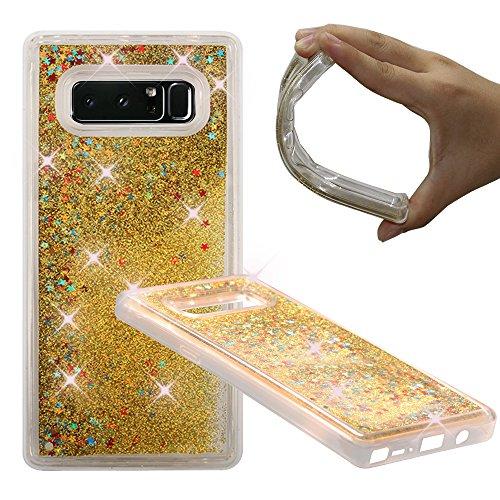 Samsung Galaxy Note 8 Case, NOKEA Soft TPU Flowing Liquid Floating Luxury Bling Glitter Sparkle Case Cover Fashion Design for Samsung Galaxy Note 8 (Gold)