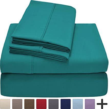 Premium 1800 Ultra-Soft Microfiber Collection Sheet Set - Double Brushed - Hypoallergenic - Wrinkle Resistant - Deep Pocket (Queen, Emerald)