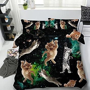 Lifeisperfect Jf 476 Schone 3d Katzchen Und Galaxy Betten Queen Full