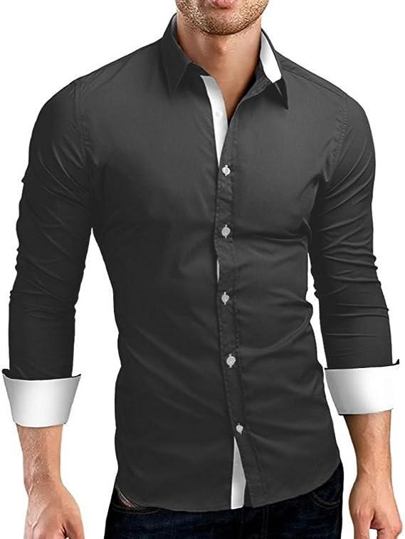 Camisas hombre Auto-cultivo de los hombres costura mangas largas camisa-Tops estilo de otoño,YanHoo® Mens Casual manga larga camisa negocio Slim Fit Camisas de color puro blusa (Gris, XL): Amazon.es: Iluminación