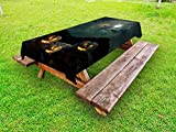 Lunarable Halloween Outdoor Tablecloth, Yard of an Old House at Night Majestic Moon Sky Creepy Dark Evil Face Pumpkins, Decorative Washable Picnic Table Cloth, 58 X 84 inches, Multicolor