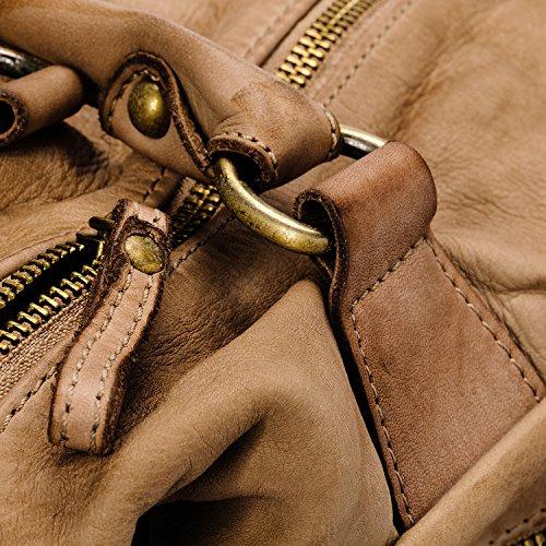 Ira del Valle, Bolso para mujer, Piel genuina, Vintage, Modelo Coast to Coast, Made in Italy Camello