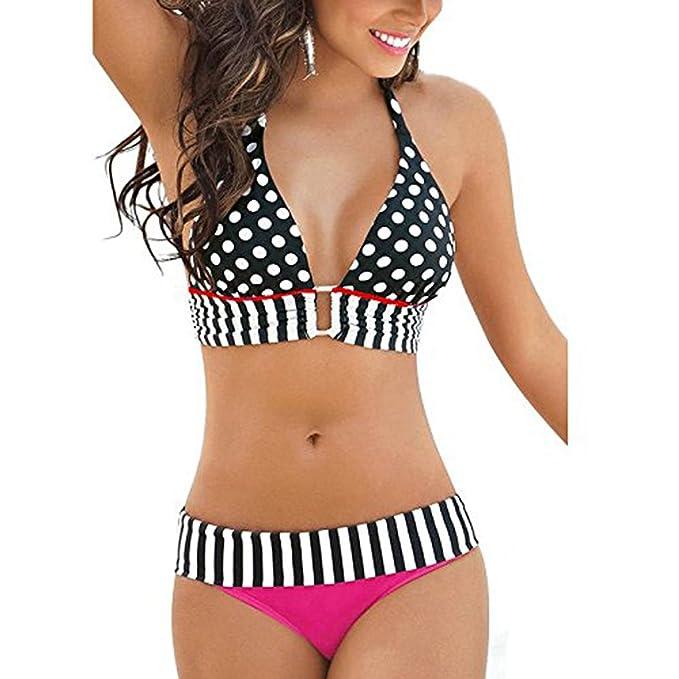 Womens Bikini 2 Piece Polka Bathing Suit ~ Traje Trusa de Baño para Mujer