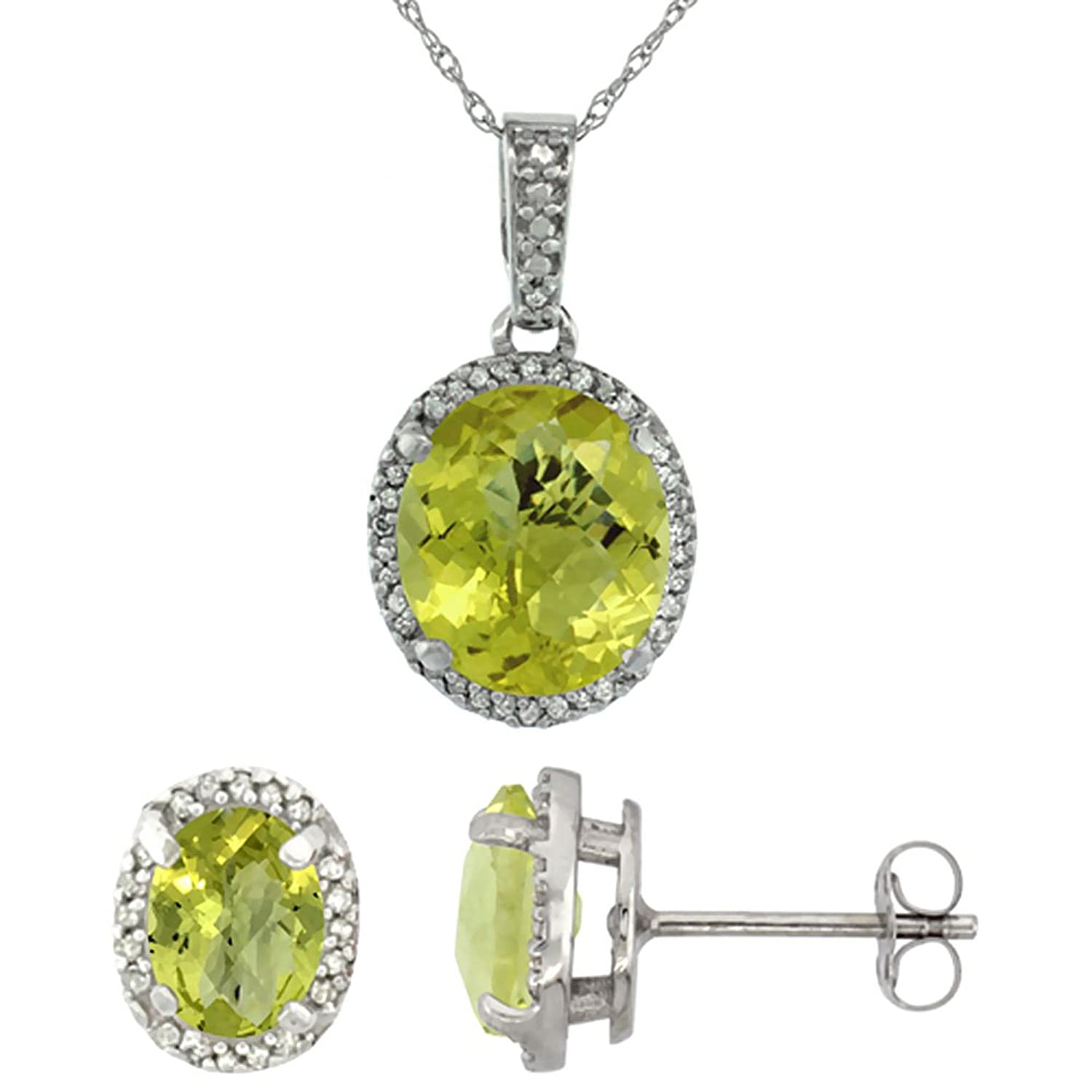10K White Gold Diamond Natural Lemon Quartz Oval Earrings & Pendant Set