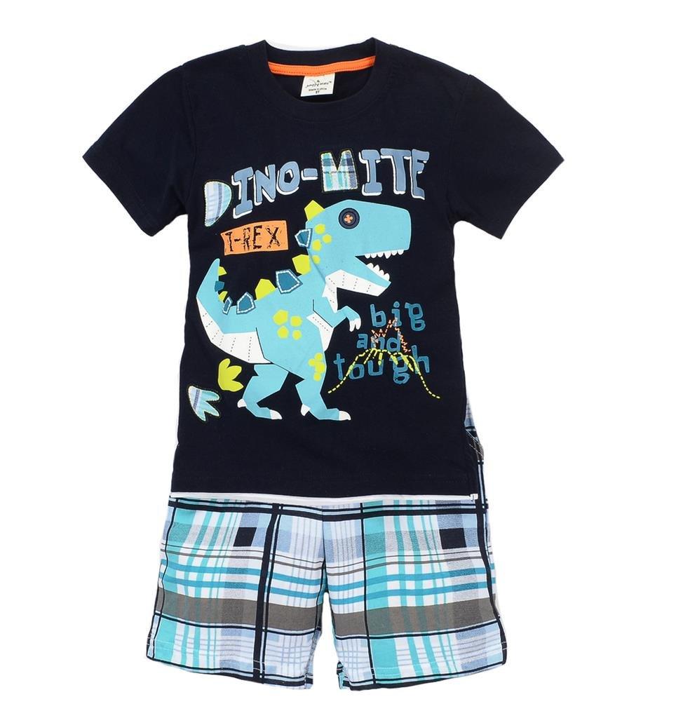 Coralup Little Boys Dinosaur Short Sleeve Set (Black,6-7Years)