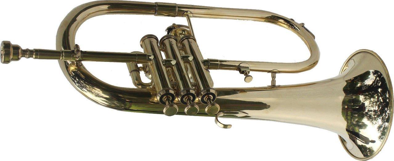 Queen Brass Flugel Horn Brass Finish Bb Pitch W/Hardcase Mp Brass Fluglehorn Gold by Queen Brass