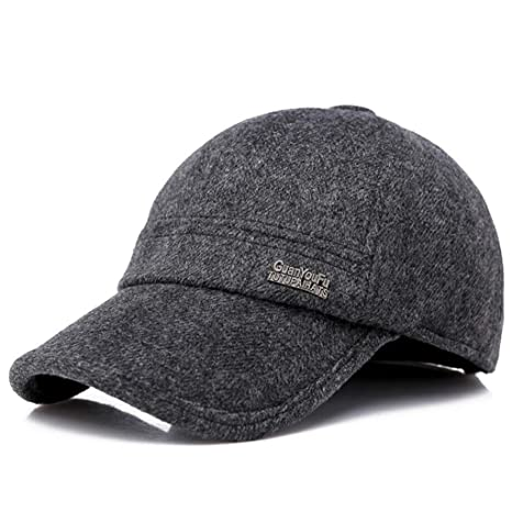b4f2877fc76 MTXLN Winter Woolen Baseball Cap Outdoor Leisure Middle-Aged Earmuffs Hat  Warm Men