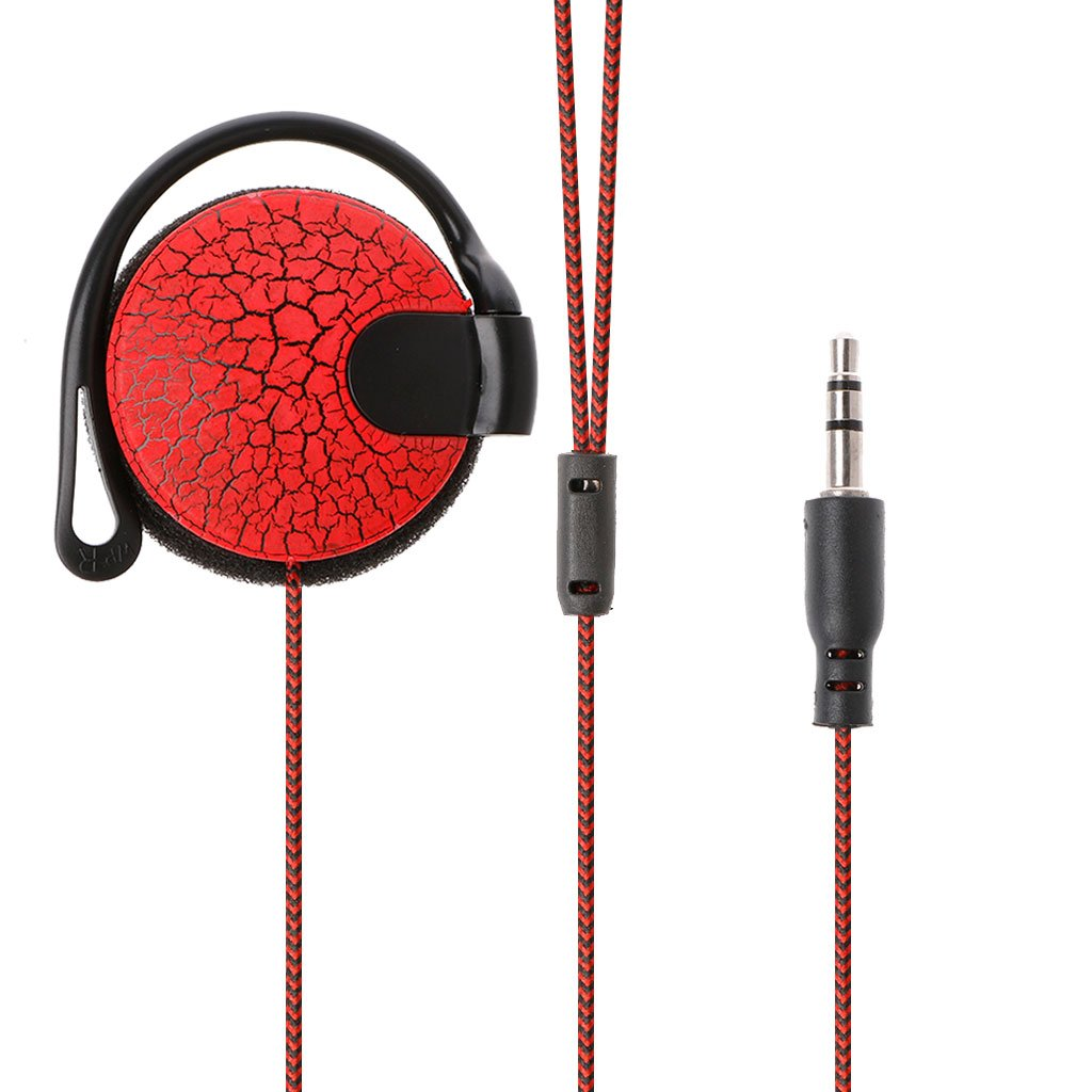 Stebcece Earhook Headphones, Nylon Braided Earphones for IOS and Android (Red)