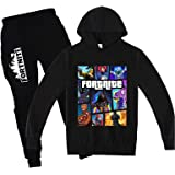 Epic Games Youth Fortnite Hoodies Suit Fashion Sweater and Long Pants Set 2 Pieces Sweatsuit for Girls Boys