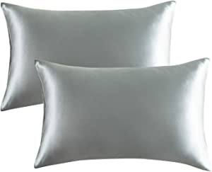Bedsure Satin Pillowcase for Hair and Skin, 2-Pack - Standard Size (20x26 inches) Pillow Cases - Satin Pillow Covers with Envelope Closure, Granny Grey