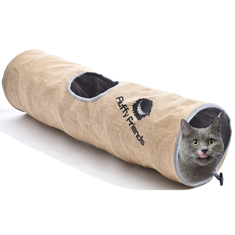 Fluffy Friends Collapsible Cat Tunnel - Interactive Cats Toy Fun Peek Hole Hiding Play for Small Large Kitty Rabbit Tube for Indoor Cats Kitten by Fluffy Friends (Image #1)