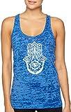 Yoga Tank Top - Burnout Racerback - Hamsa Design (X-Small, Dark Blue)