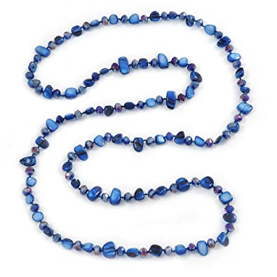 Avalaya Long Blue/Off White Shell Nugget and Glass Crystal Bead Necklace - 110cm L BiIlf