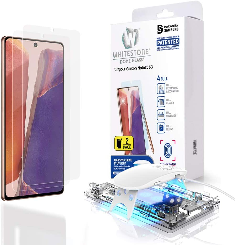 Galaxy Note 20 Screen Protector [Dome Glass] Full Coverage Tempered Glass Shield [Liquid Dispersion Tech] Easy Install Kit for Samsung Galaxy Note 20 - Two Pack