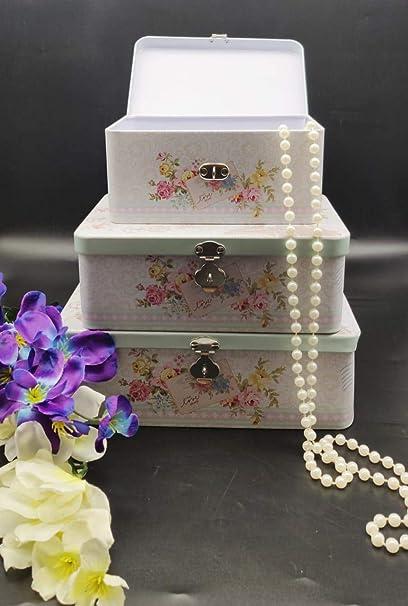 Satyam Kraft Rectangle Shape Diwali Gift Metal Printed Flower Love Travel Trunk Box for Diwali Gift,Gift (24.5 cm x 18 cm x 8.5 cm, Blue, Pack of 3)
