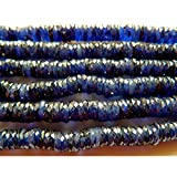 Sapphire Beads, Glass Filled Sapphire Heishi Beads, Faceted Beads, Size 7mm Each, 16 Inch Strand