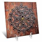 3dRose Danita Delimont - Doors - Spain, Balearic Islands, Mallorca, Arta. Decorative Key hole - 6x6 Desk Clock (dc_277914_1)
