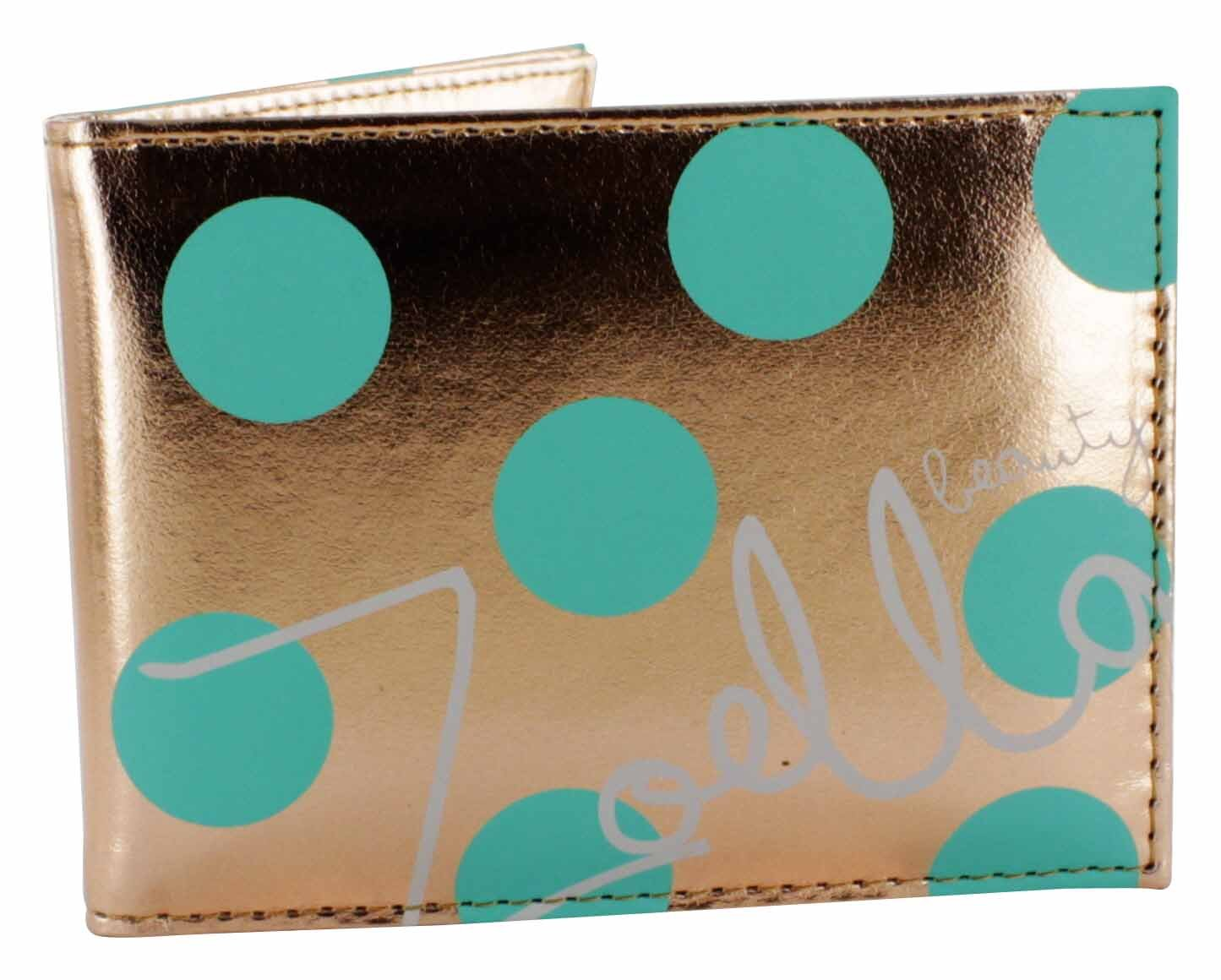 Zoella Beauty Fairest of them all Travel Pass and Compact Mirror - Gold with Teal Polka Dots by Zoella Beauty