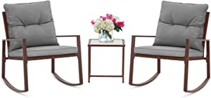 SUNCROWN Outdoor 3-Piece Rocking Bistro Set: Brown Wicker Furniture-Two Chairs with Glass Coffee Table (Grey Cushion)