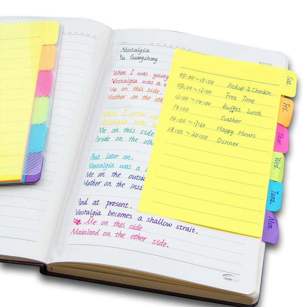 DICPOLIA Notebook Sticky Note Colorful Notes Assorted Neon Colors Sticky Notes with 60 Ruled Notes Pen Back to School Supplies (Yellow)