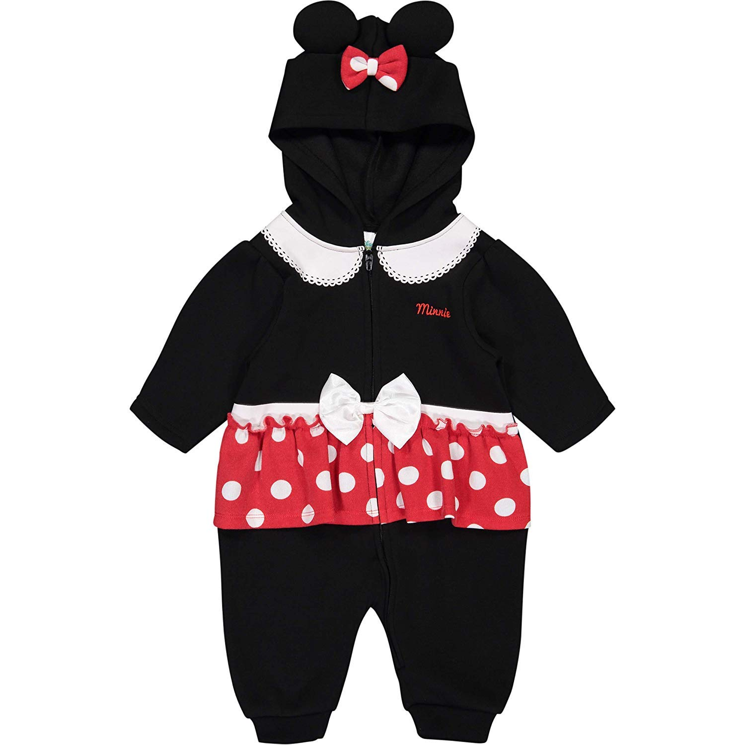 b24da44a3 Amazon.com: Disney Minnie Mouse Baby Girls' Fleece Zip-Up Costume Coverall  with Hood: Clothing