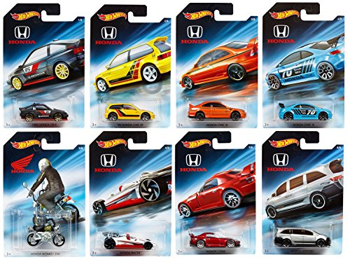 Hot Wheels 2018 Honda 70th Anniversary Bundle Set of 8 Die-Cast Vehicles, 1:64 Scale